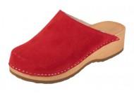 Dámské zdravotní dřeváky červená velur